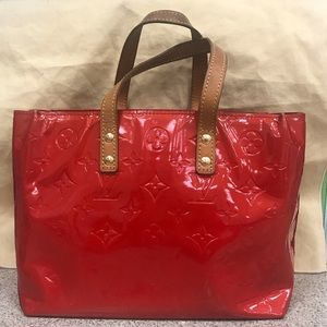Louis Vuitton Reade Red Vernis Leather Tote Bag
